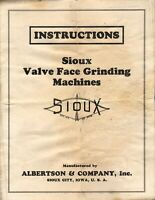 VINTAGE VALVE FACE GRINDING MACHINES INSTRUCTION SIOUX CITY IOWA