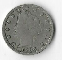 Rare 100 Year Old 1906 US Lady Liberty V Nickel Collection USA Antique Coin L15