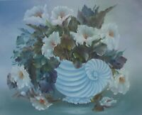 ORIGINAL OIL PAINTING on CANVAS - Roses in Shell Vase by SP Soni
