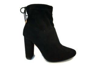 Womens Black Ankle Boots Size 7 Block High Heel Faux Suede Pull On Tie Back NEW
