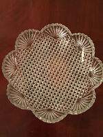 "Antique/Vintage EAPG Pressed Glass 10.5"" STRAWBERRY DIAMOND FAN GLASS BOWL"