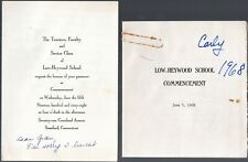 June 5 1968 Low-Heywood School Graduation Invitation, Program Charlotte W. Taft