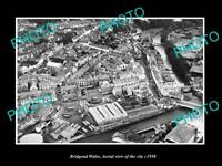 OLD LARGE HISTORIC PHOTO OF BRIDGEND WALES UK, AERIAL VIEW OF THE CITY c1950