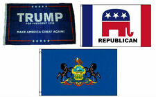 3x5 Trump #1 & Republican & State of Pennsylvania Wholesale Set Flag 3'x5'