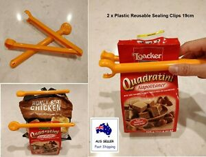 Plastic Reusable Food Bag Sealing Clips Kitchen Preservation Snack Clamp 19cm x2