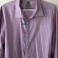 Hickey Freeman Mens Dress Shirt Size 2XL Button Front Multi Color Striped