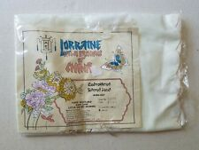 Vintage Lorraine Home Fashions China Valance 65x84 Embroidered Sheer Cream New