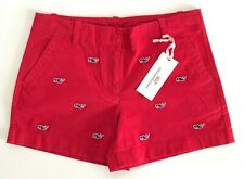 Vineyard Vines Girls Whale Embroidered Everyday Short Red Navy Size 10 *A21