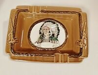 VINTAGE! MCM Native American Ashtray Peace Pipe Design Japan 1950s 6X9