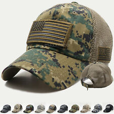 3221fcb58b1d1 USA American Flag Hat Detachable Patch Cotton Baseball Mesh Military Army  Cap