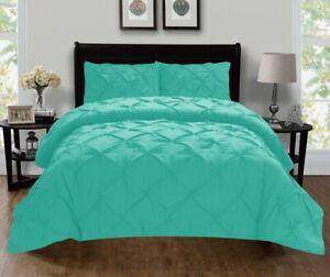 New Pinch Pleat Duvet Cover Set Queen 3pc Pillowfort Mint / Aqua FREE SHIPPING