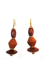 Retro Tribal Style Earrings (A17) Unique Womens Wooden Multi Layer Chunky
