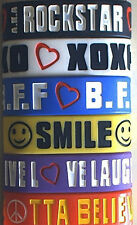 "100 Pieces 1"" Wide Inspirational Text Message Bands Bracelets Bff Xox Packaged"