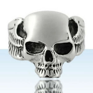 -SKULL-AND-WINGS- Wide STAINLESS STEEL Sculptured Fashion RING, size 12