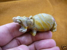 (Y-Hip-700) Gray Yellow roaring Hippo Hippopotamus Gemstone carving figurine
