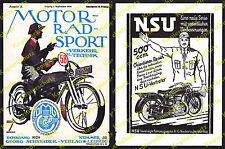 orig. Reklame Ludwig Hohlwein DMV Motorrad NSU 500ccm Neckarsulm Nürnberg 1928