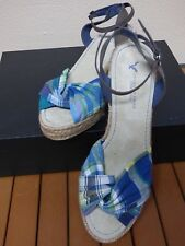 American Eagle Outfitters Sandals Blue Plaid Wedge Ladies 8 Open Toe 8010-400