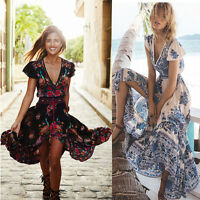 Women Bohemian Long Maxi Dress Boho Party Cocktail Beach Floral Sundress