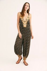 NEW FREE PEOPLE Sz M BLISSED OUT PRINTED HAREM ONE PIECE JUMPSUIT JUMPER BLACK