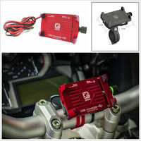 Motorcycle Red CNC Aluminum GPS Navigation Phone Mount Bracket with USB Charger