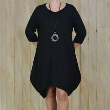Lagenlook Cotton Jersey Tulip Dress Black Size 22-26 Bust 56 Inches J34