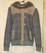 FOX GIRLS RACING Wool Brown Plaid Faux Fur Hoodie Jacket Size Large EUC
