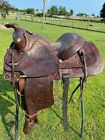"""Used Ryon 14"""" dark oil leather Western youth saddle w/equitation seat US made"""