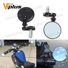 "Black Motorcycle Aluminum 3"" Round 7/8"" Handle Bar End Rearview Mirrors Foldable"