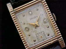 All Original Vintage Gruen With Ribbed Case And Diamond Bezel Markers 15 Jewel