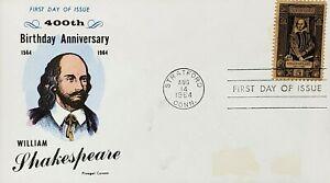 FDC US. Scott #1250 5c William Shakespeare 1564-1616 Fluegel Cachet 1964
