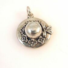 925 Sterling Silver 3-D SUN HAT w/ Flowers Charm NEW Pendant 925 Ladies DU41