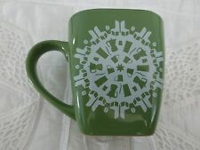 Starbucks 2004 Green Christmas Snowflake Holiday Coffee Cup Square Heavy Mug