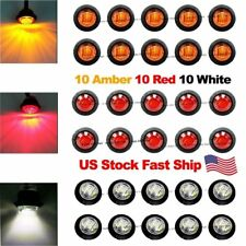 "30X Red Amber White Mini 12V 3/4"" Side 3 LED Marker Trailer Bullet Light US Ship"