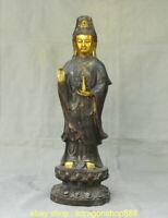 """19,2 """"vieux bronze doré support Kwan-Yin Guan Yin déesse Bouteille Statue Lotus"""