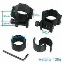 2PCS 25.4mm/30mm Scope Mount 20mm Picatinny/Weaver Rail with 25.4mm Convert Ring