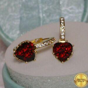 Women Elegant GF Red Garnet Diamond Earrings Made With Swarovski Crystals , GIFT