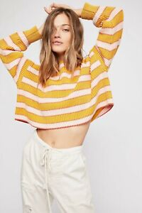 New Free People Cropped Just My Stripe Pullover Jumper small 10/12/14 oversized