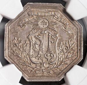 "1776, Switzerland. Rare Silver ""Arts Society of Geneva"" Award Medal. NGC MS-63!"