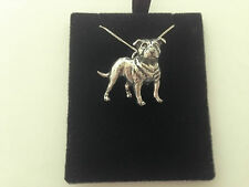 D17 Staff Bull Terrier on a 925 sterling silver Necklace Handmade 16 inch chain