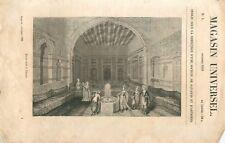 Divan turc à Damas Syrie Empire Ottoman (Turquie) GRAVURE ANTIQUE OLD PRINT 1838