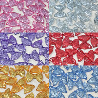 20x 25mm Glitter Resin Bows Shabby Chic Flatbacks Craft Embellishments-6 Colours