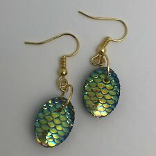 Mermaid Egg / Dragon Egg Scales Silver Plt Charm Earrings Yellow Green I030