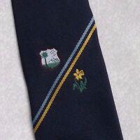 Vintage Tie Mens Necktie SHIELD CRESTED Club Association Society DAFFODIL