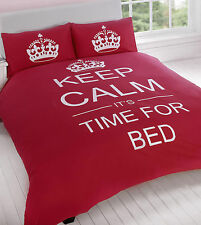 Keep Calm Duvet Set Single Size Red