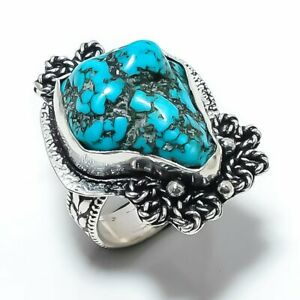 Tibetan Turquoise Gemstone 925 Sterling Silver Jewelry Ring Size 7.5 B622