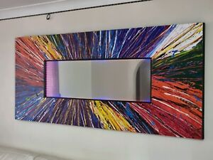 Modern Original Artwork Painting with Mirror and LED Infinity Lighting Feature.