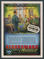 Orig. Colour Advertising Globe Man Blade Razor Mountain Field Ohligs Solingen 1944
