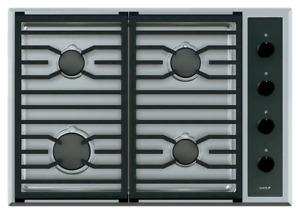 """WOLF CG304T/S/LP 30"""" Stainless Steel Transitional Liquid Propane LP Gas Cooktop"""