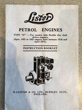 Lister D Stationary Engine Instruction Booklet
