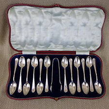 Antique Teaspoons & Sugar Tongs Nips Silver Plated Boxed Set of 12 Edwardian